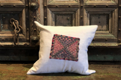Vintage French Linen & Mirrored Embroidery Cushion